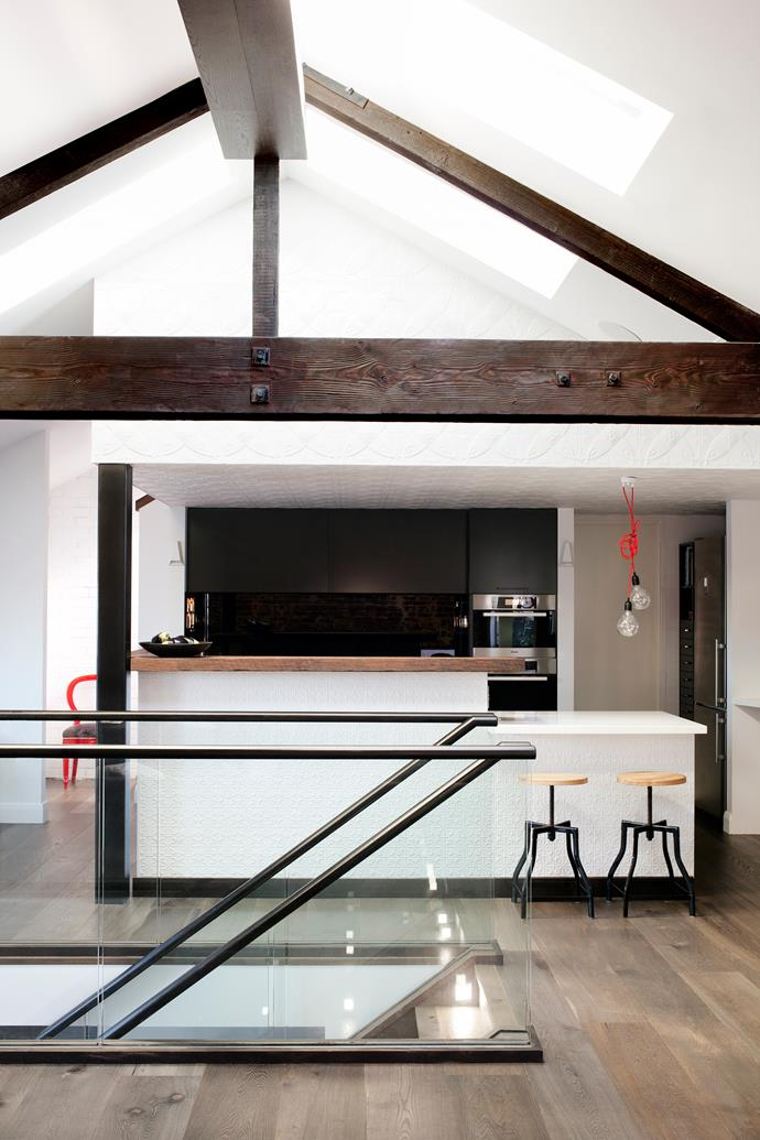 """""""We used as few finishes as possible as I felt they would visually sit better together,' says Camilla. """"For example, the same flooring was used for the lighting beam on the ceiling."""""""