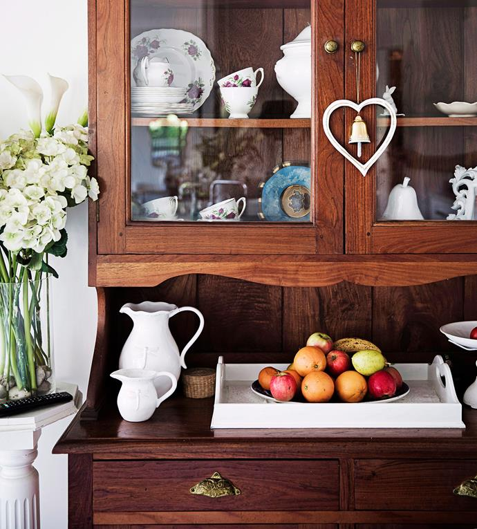 Antique timber furniture and vintage vases and dinnerware provide instant country style. Photo: James Henry / bauersyndication.com.au