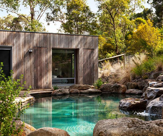 "Melbourne architect Lynnsay Prunotto of [Lume Architecture](http://www.lumearchitecture.com.au/|target=""_blank"") designed her pool to emulate a natural environment. Water streams down basalt boulders into a 10x5m pool lined with pebble mix. **Cost:** about $75,000, including landscaping.   Photo: Lisbeth Grosmann"
