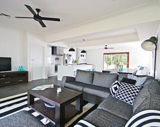 Monochrome open plan living room