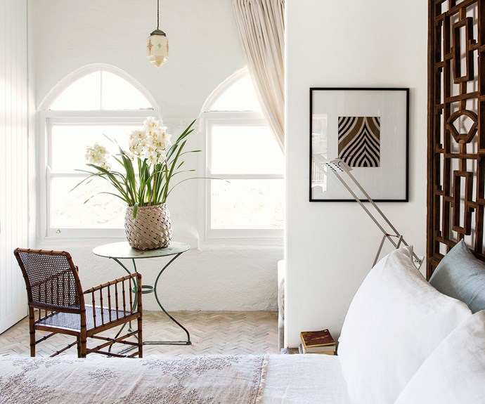Bamboo chair in sunroom off bedroom