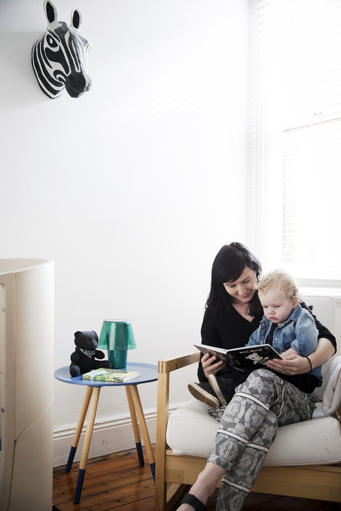 """This nook in the nursery is just the place for mum and baby to snuggle up with a god book, and the stylish side table from [Freedom](http://www.freedom.com.au/