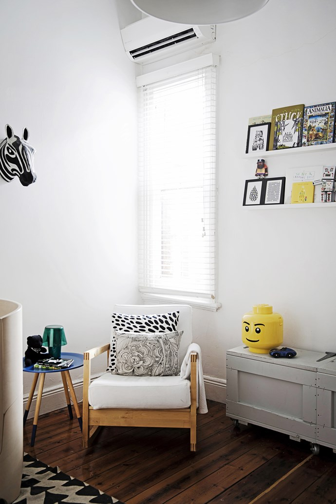 """Hudson's book collection sits with art prints by [Seventy Tree](http://seventytree.bigcartel.com/