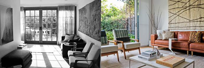 **BEFORE AND AFTER**: Hinged doors limited the flow from outdoors to in, but now newly installed sliding glass doors open up the space. Photo (right): Felix Forest