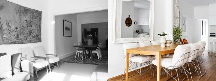 **BEFORE AND AFTER:** The dark dining area was remedied by hanging an oversized mirror above the dining table to reflect natural light. Photo: Felix Forest