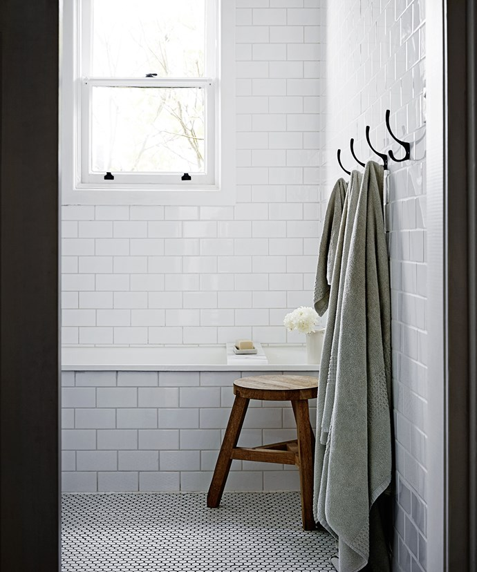 """The bathroom was renovated, with the original cast-iron bath retained and refinished.   Tom Dixon Offcut **stool** from [Dedece](http://www.dedece.com/