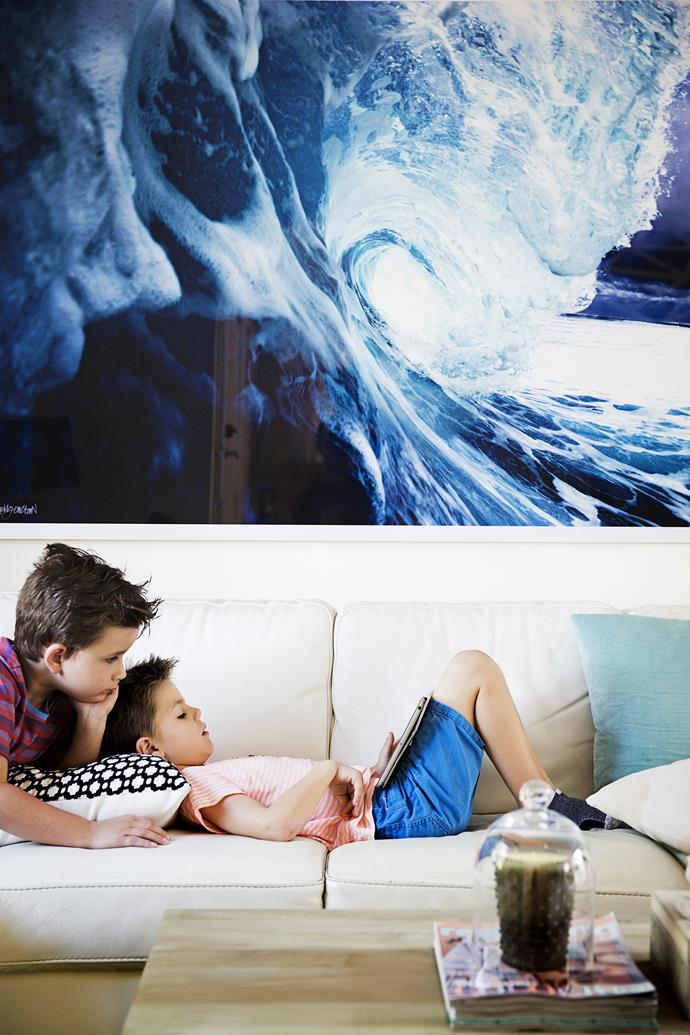 A moody ocean print adds to the relaxing feel of Jaclyn's favourite room. The boys love it too!