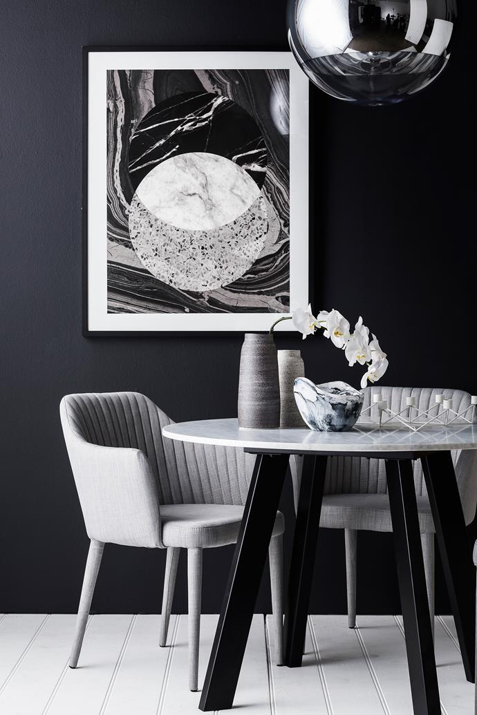 "If you're feeling brave, paint the room black. Otherwise, white or grey will look great, too. Next comes the layering, and this is where you add the visual detail with textured textiles, interesting prints and high-shine mirror finishes on accent pieces.  Middle Of Nowhere Infinity framed **print** from [Life Interiors](http://www.lifeinteriors.com.au/|target=""_blank"").  Low sheen acrylic **paint** on wall in Atlantic from [Porter's Paints](http://www.porterspaints.com/
