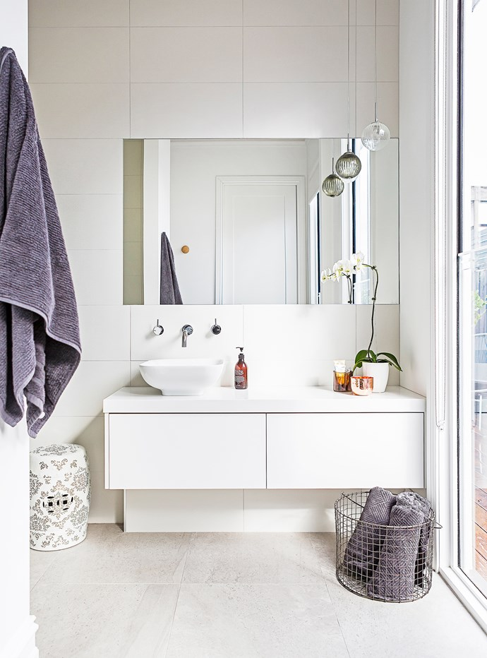 """The textured wall tiles in the ensuite are in Basket Weave from [Elegance Tiles](http://www.elegancetiles.com.au/ target=""""_blank"""")."""
