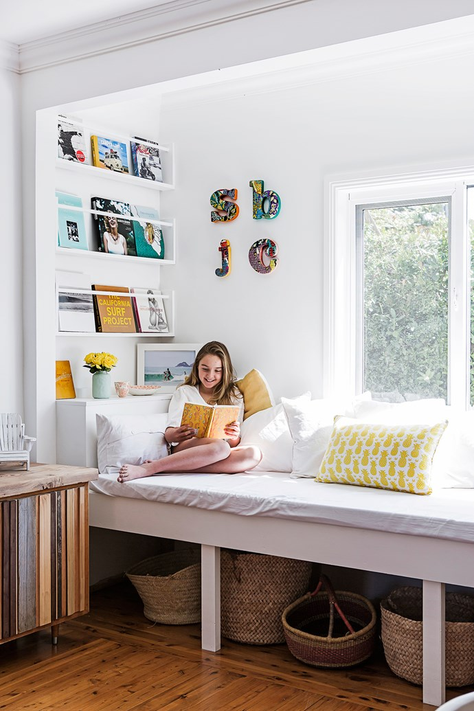 The reading nook in the dining area is a favourite place for all the family.