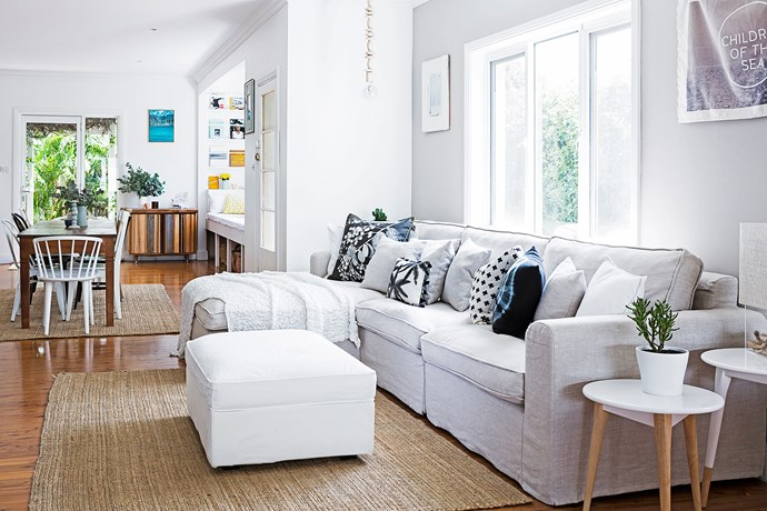 Bernadette loves her linen sofa from Everyday Living in the TV zone because it's really slim.