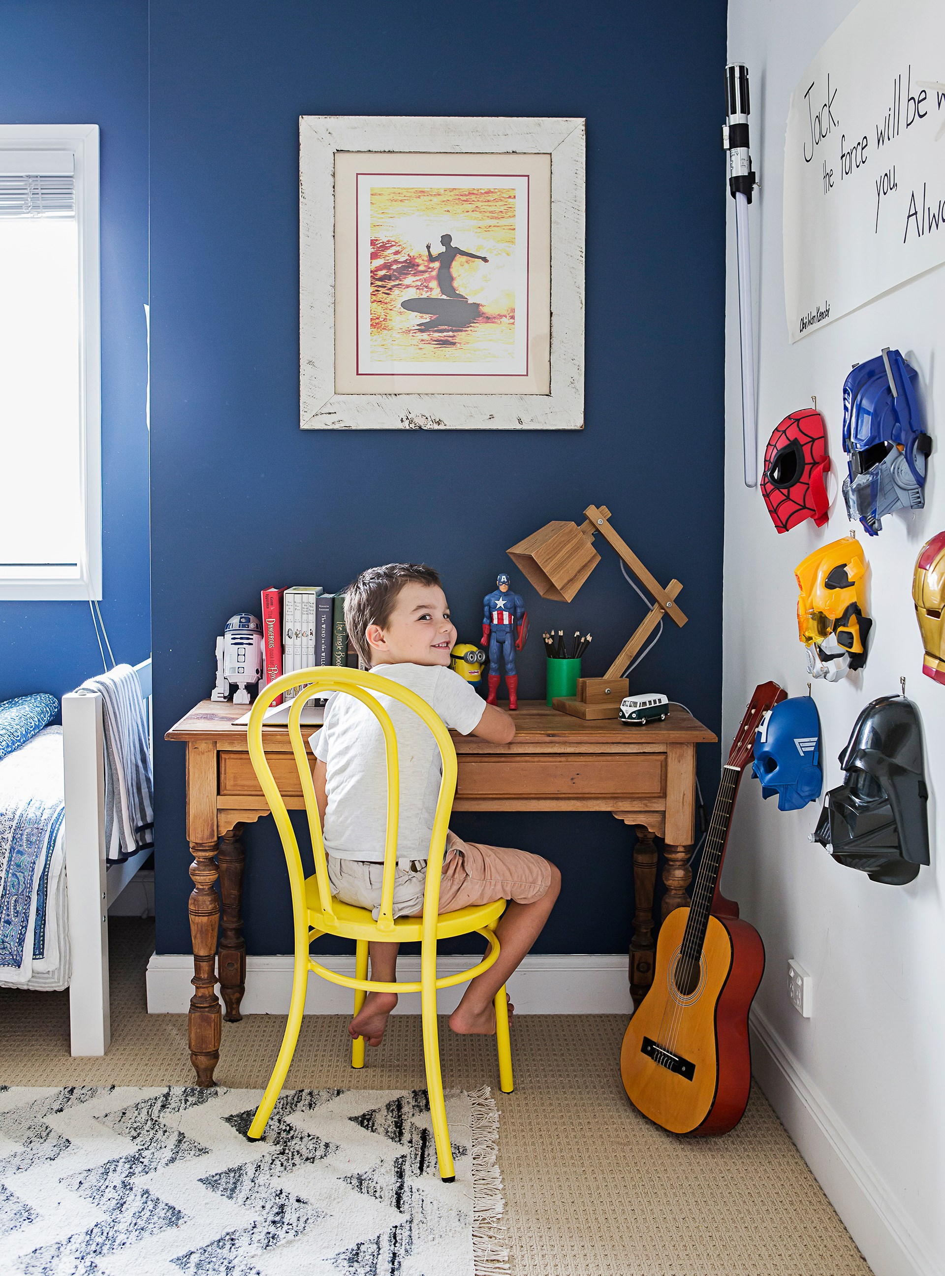 "Decorate a child's room to suit their personality; navy walls suit Jack to a tee in this [breezy beach house](http://www.homestolove.com.au/gallery-bernadettes-breezy-beach-house-1980|target=""_blank""). Photo: Maree Homer / *homes+*"