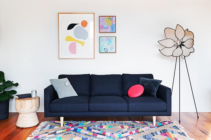 """The downstairs living area is devoted to kids, with colourful pops from an Indian rug and vibrant artworks.  **Artworks** by [Marnie Gilder](http://www.marniegilder.com/
