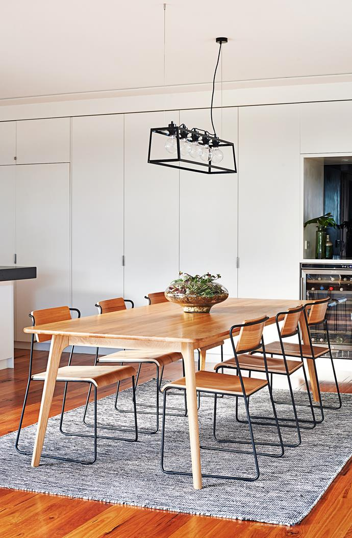 """""""The table and chairs are definitely my favourite furniture items,"""" Sarah says.  Convair dining **table** from Line Design. Transit dining **chairs** from [Life Interiors](http://www.lifeinteriors.com.au/