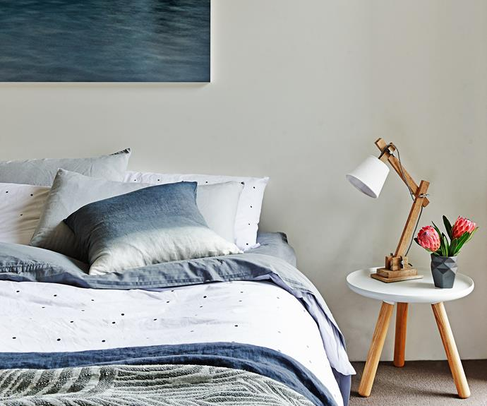 """A moody palette in the master bedroom is perfect for a restful space.  Photographic **artwork** by [Jason Furnari](http://www.jasonfurnari.com/
