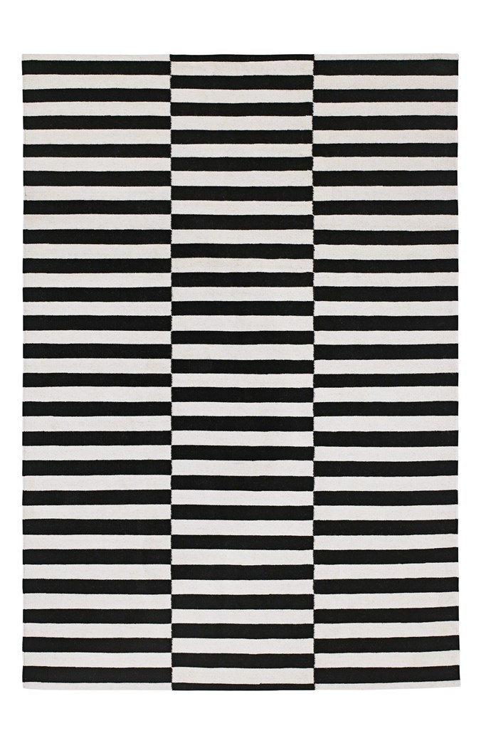 """Stockholm rug in Black stripe, $299 for 1.7m x 2.4m, from [Ikea](http://www.ikea.com.au/