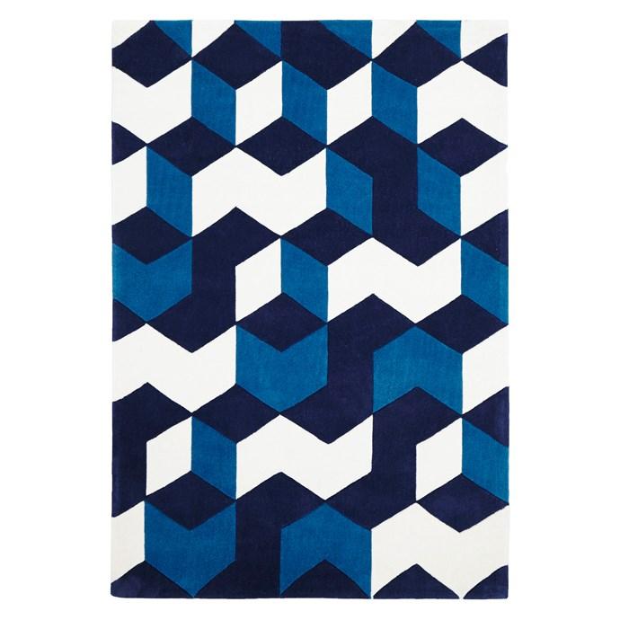 "Lene Blue Modern rug, $149.95 for 1.65m x 1.15m, from [Zanui](http://www.zanui.com.au/furniture/|target=""_blank"")."