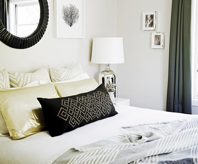 Master bedroom with black and white decor
