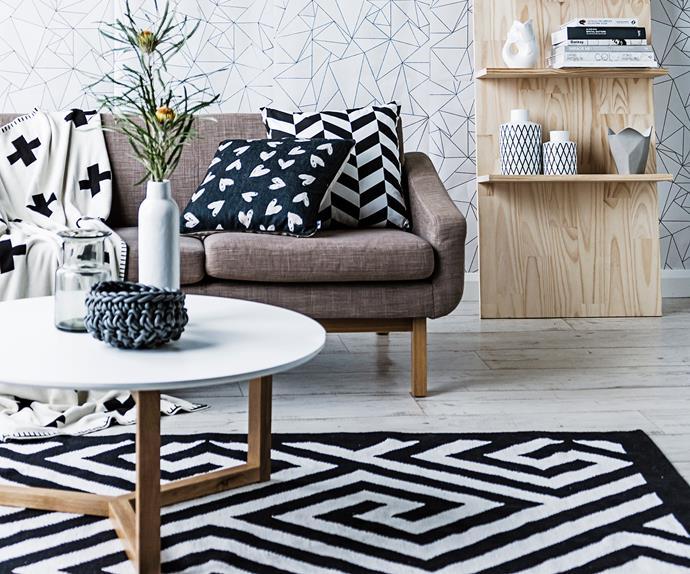 Black and white living room rug