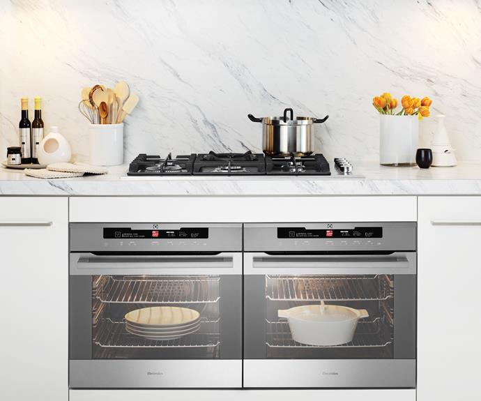 **Electrolux stainless-steel trio:** EVEP613SB 60cm pyrolytic ovens, $2589/each, EHG953SA 90cm gas cooktop, $1179, and ERC925SA 90cm touch-control rangehood, $1289, from [Masters Home Improvement](http://www.masters.com.au/). Photo: Supplied