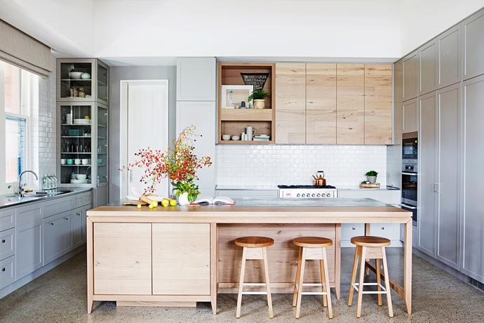 "When they renovated their heritage-listed home in the Adelaide Hills, the owners of this 3.9x6m kitchen wanted a modern design sympathetic to the history of the home but finely tuned to the demands of a busy family. [See more of this kitchen here](http://www.homestolove.com.au/kitchen-profile-feel-the-warmth-1996|target=""_blank""). Photo: James Knowler 
