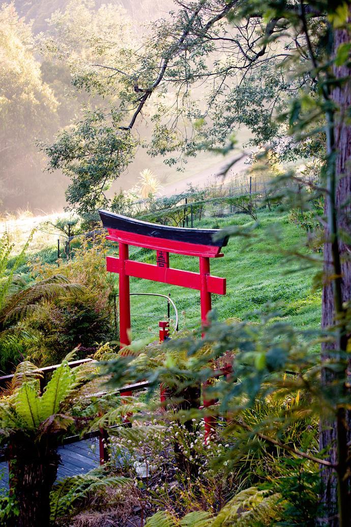 Jessie's interpretation of a torii gate, along the Bach Bend.