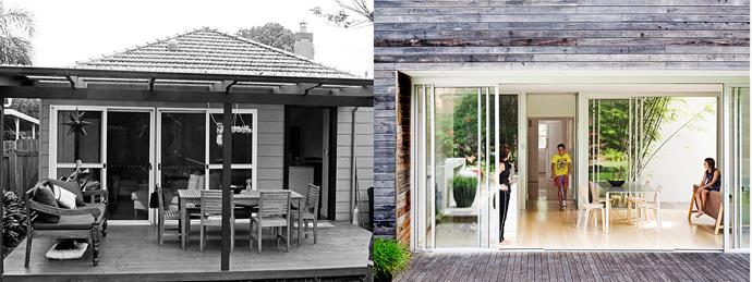 **BEFORE AND AFTER:** The house was originally a single-storey cottage. The new two-storey rear extension leads out to the back garden. Photo (right): Chris Warnes