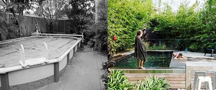 The garden had an existing above-ground pool. The new pool is partly above-ground with a raised deck to save on excavation costs. Photo (right): Chris Warnes