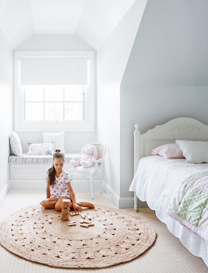 "A bench seat built into the dormer window is an idyllic spot for Tara to sit and daydream.   For similar **bed**, try [Pottery Barn](http://www.potterybarn.com.au/|target=""_blank"") Kids. Window seat **cushion** in [JW Design](http://www.jwdesign.com.au/