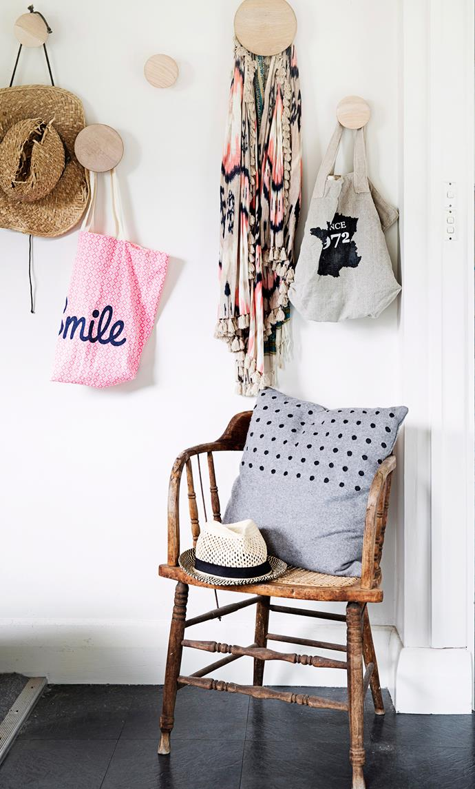 The back entrance of this Californian bungalow in Melbourne's South-East could be a forgotten space. Instead, hats, bags and other paraphernalia make it a sweet and friendly place to be. Photo: James Henry / bauersyndication.com.au