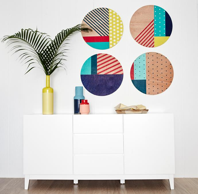 """Keep your hallway clean, tidy (but never boring!) with a stylish buffet where you can stash bits and bobs and a colourful vignette up top. Axis two door/three drawer **buffet** in white, $599; and primary vessel **vases**, from $19.95. Stripes and Spots ply **wall dots**, $249/set of 4. All products from [Freedom's Endless Summer collection](http://www.freedom.com.au/furniture/spring-summer-2015/endless-summer/