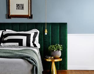 Upholstered bedhead in green velvet