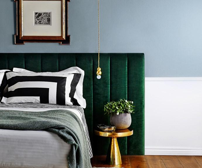 Upholstered bedhead in green velvet
