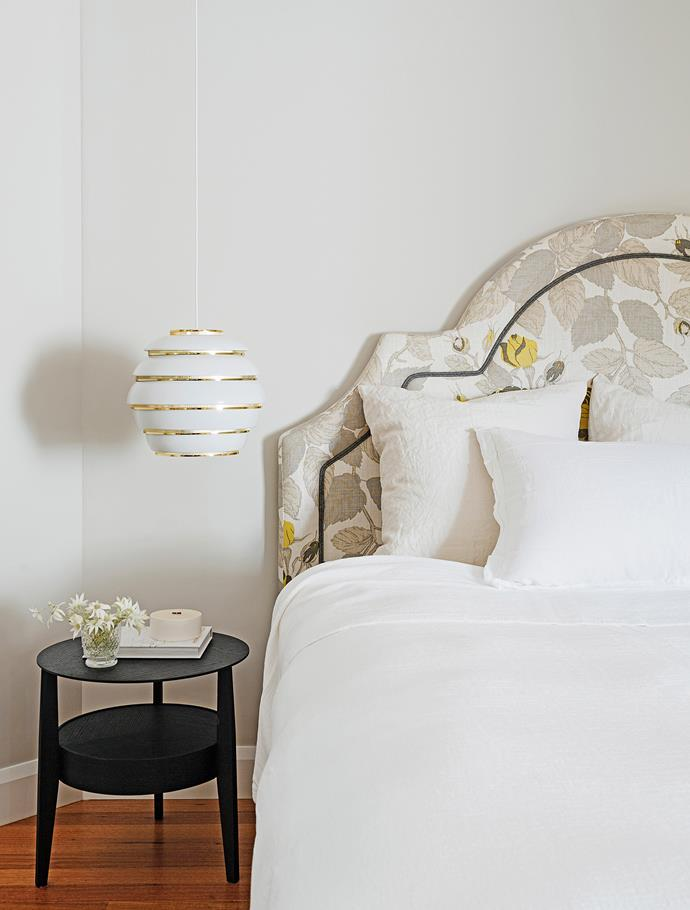"Florals in the bedroom are a decidedly feminine touch alongside the shine of brass in the pendant light.   **Bedhead**, made by [Zenith Interiors](http://www.zenithinteriors.com/au/|target=""_blank""), in Christopher Farr Simila fabric from [Ascraft](http://www.ascraft.com.au/