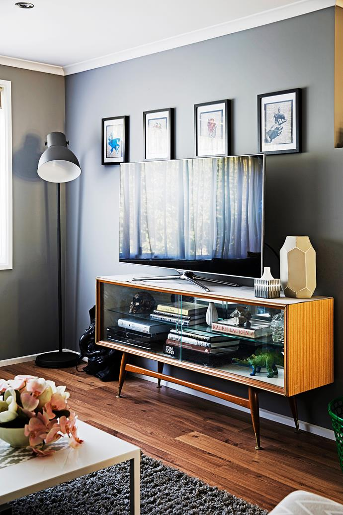 "Jet bagged the retro wooden and glass cabinet on [Gumtree](http://www.gumtree.com.au/?utm_campaign=supplier/|target=""_blank"") for $100. It houses the boys' collection of coffee-table books."