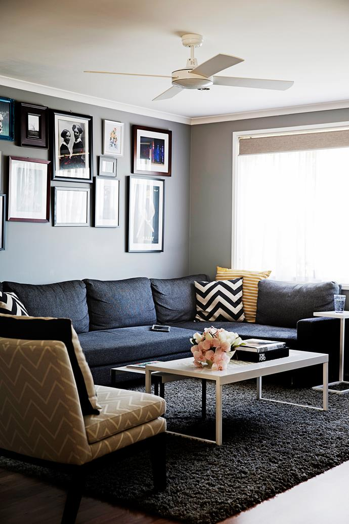 "Patterned cushions add interest against the charcoal coloured sofa from [King Living](http://www.kingliving.com.au/?utm_campaign=supplier/|target=""_blank"")."