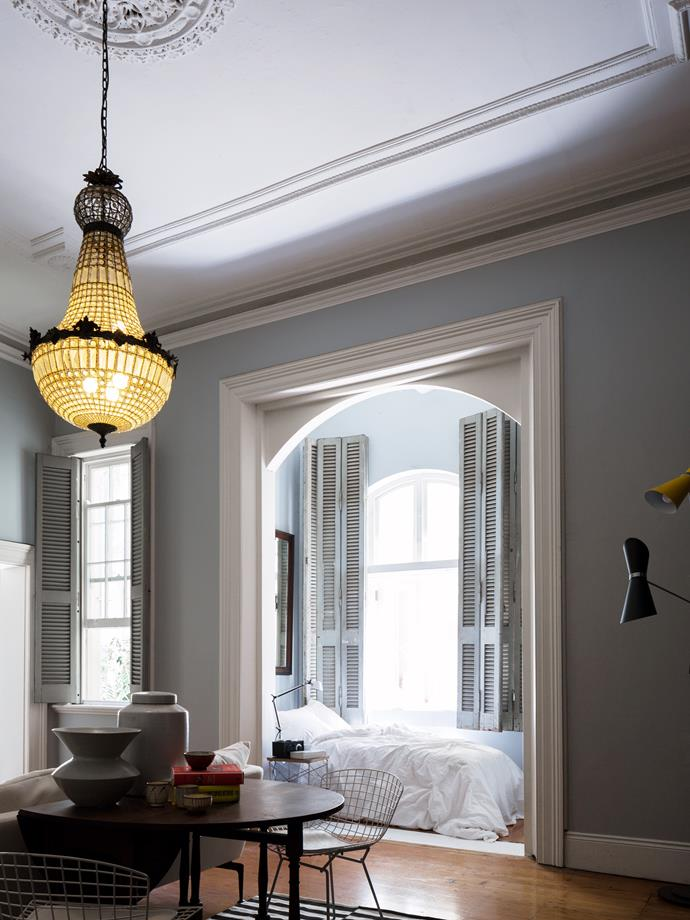 """""""The shutters were salvaged from Buenos Aires; their peeling paint exudes character."""""""