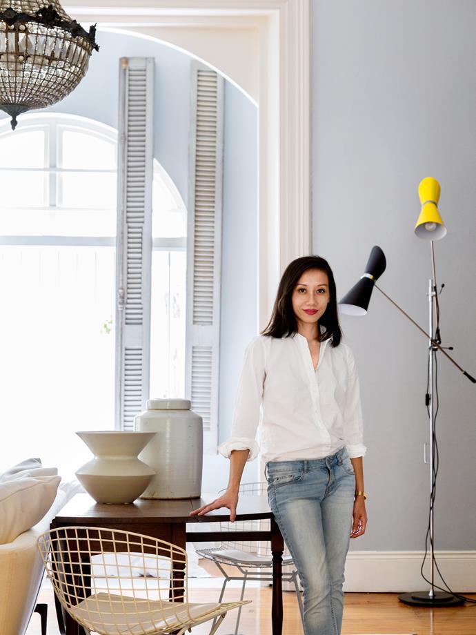 Interior designer Gillian Khaw in the living room of her studio apartment in Darlinghurst, Sydney.