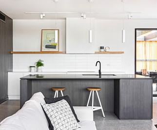 Contemporary concrete beach kitchen