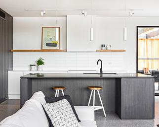 Contemporary concrete beach kitchen