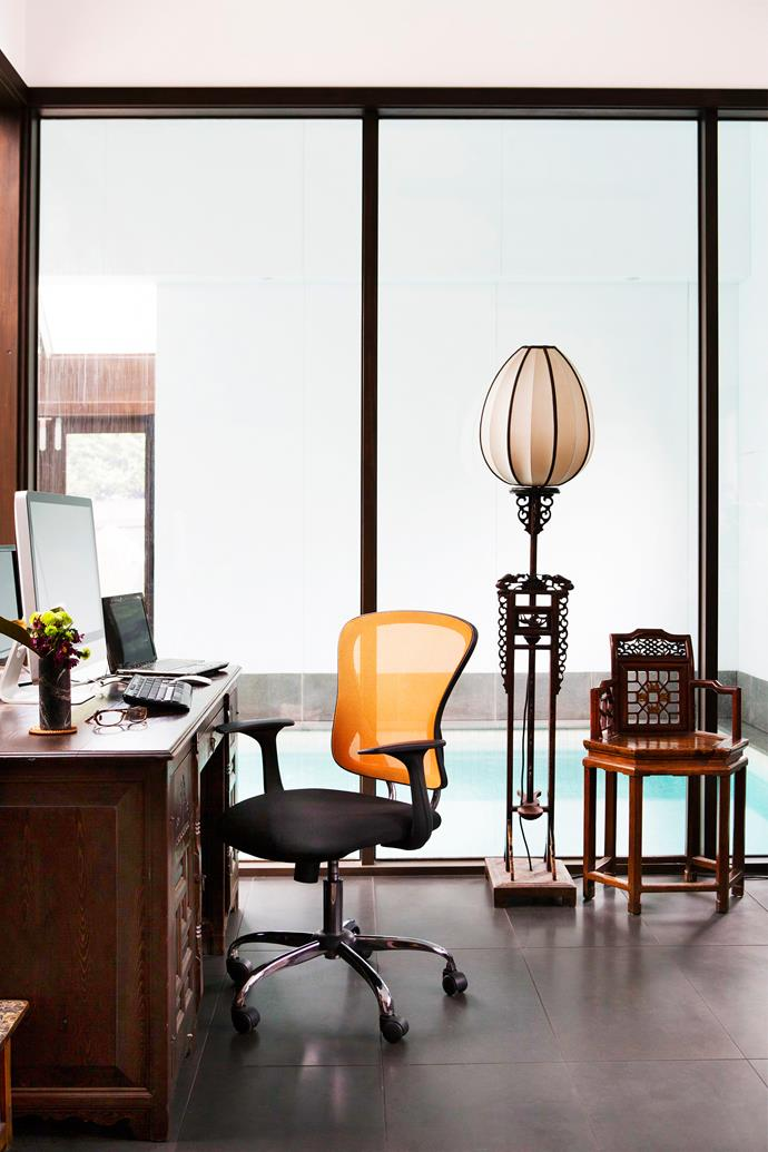 """The ground-floor office looks on to the indoor pool.  **Desk chair** from [Matt Blatt](http://www.mattblatt.com.au/?utm_campaign=supplier /