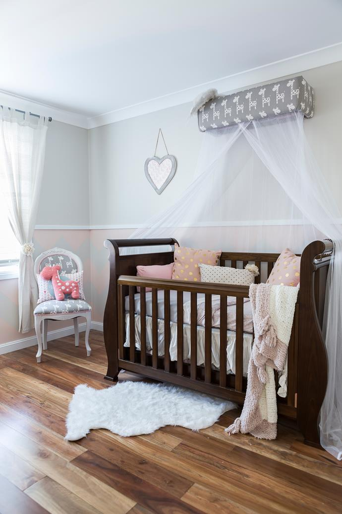 "Cecilia chose an apricot and grey colour palette for Adriana's nursery, and sourced the Boori cot from [Baby Kingdom](http://www.babykingdom.com.au/?utm_campaign=supplier/|target=""_blank"")."