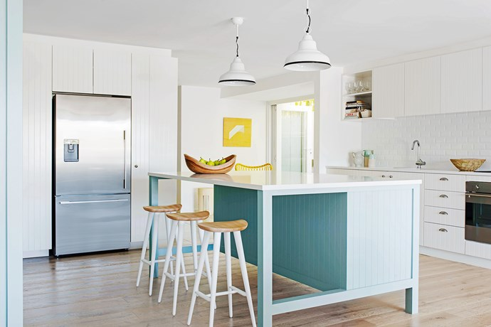 """It has a distinctly Scandinavian feel. """"With framed doors with routed V-joint style panels, the kitchen employs a spare, functional aesthetic,"""" says Andrew. But it also has a local connection he says, """"It's modern-Australian beach style."""""""