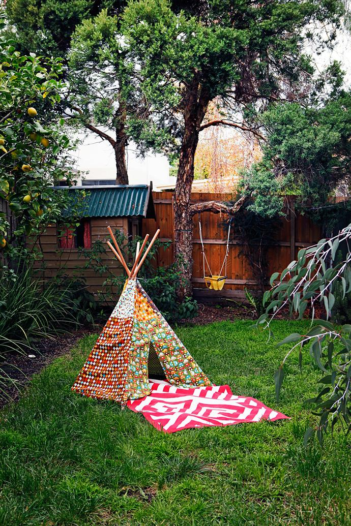 Adventure playground: Little Bonnie loves playing games out on the lawn, especially in her tepee.