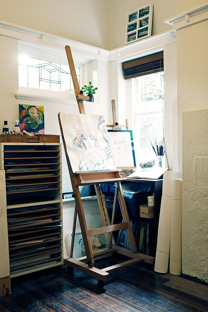 Jennifer's art studio is full of natural light.