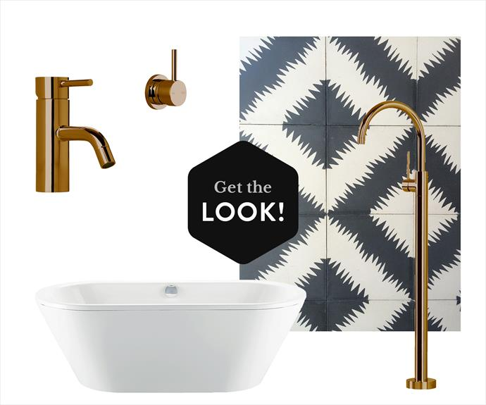 """A69.02 Icon **basin mixer** in Aged Brass, $623, A69.48 Icon **wall mixer** in Aged Brass, $510, A69.08.V5 Icon floor-mounted **bath mixer** in Aged Brass, $2571, all from [Astra Walker](http://www.astrawalker.com.au/?utm_campaign=supplier/