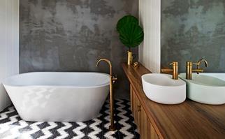 Industrial brass bathroom