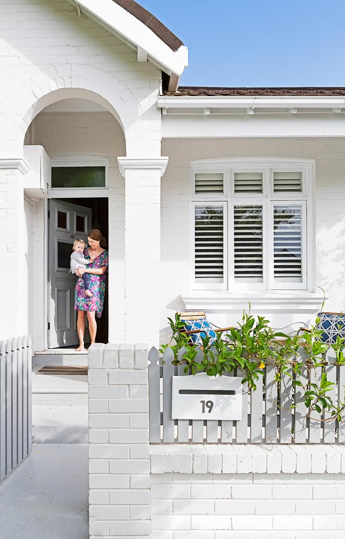 """The couple renovated the entire semi within three-and-a-half months of moving in. A white palette has brightened the house inside and out. The exterior is painted in [Dulux](http://www.dulux.com.au/?utm_campaign=supplier/