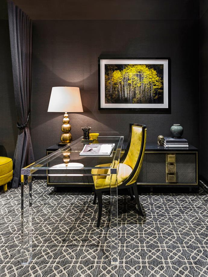 "**Room #26 by [Brendan Wong Design](http://www.brendanwong.com/|target=""_blank"")** The dark tonality of this Sydney study, which is primarily used at night, is great for focus, while decorative accessories are curated for visual delight, says interior designer Brendan. The geometric carpet underpins the room and offsets the furniture, most of which is custom designed. Photo: Maree Homer"