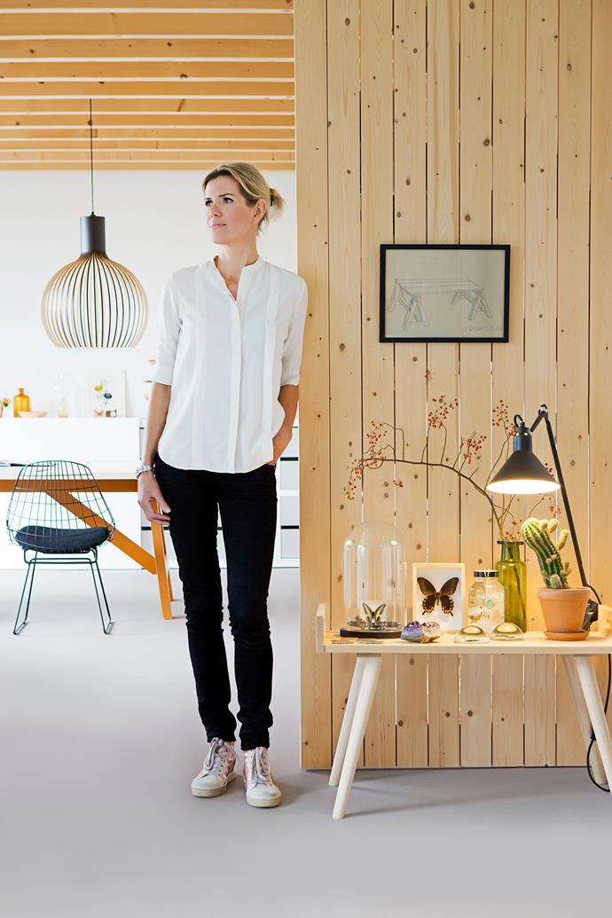 """Christien drew the framed sketch on her wall, a design for her handmade furniture company [SlowWood](http://slowwood.nl/?utm_campaign=supplier/ target=""""_blank"""")."""